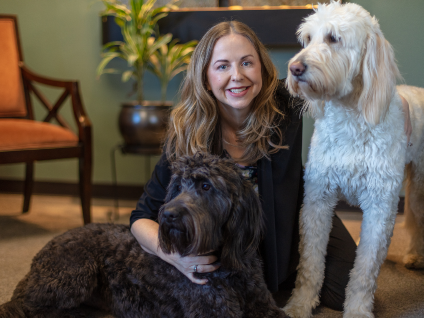 Dr. April Schulte at Healing Horizons with her dogs