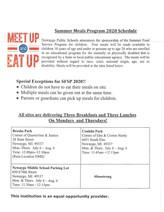 Summer Meals Program 2020 Schedule