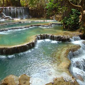 Waterfall and Cascading Pools of Tat Kunagi Si, Laos