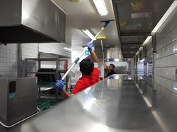 cleaning ceiling of kitchen