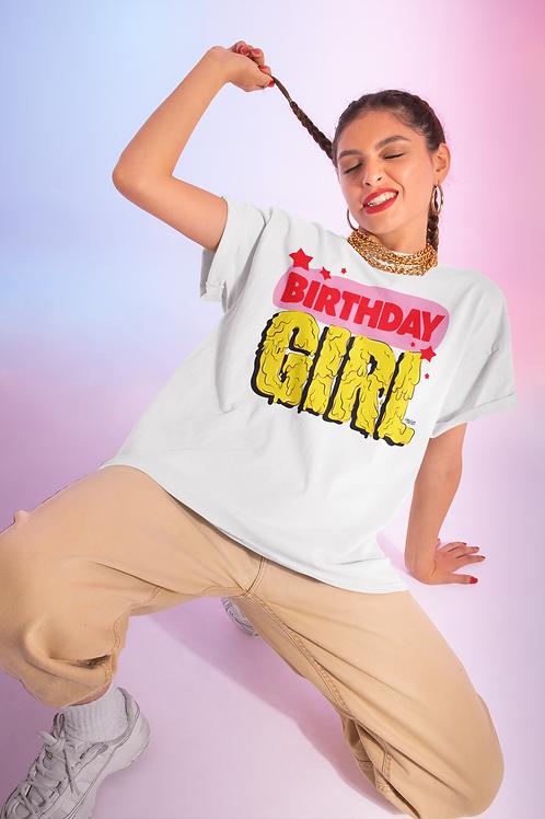 BIRTHDAY GIRL White Oversized T-Shirt