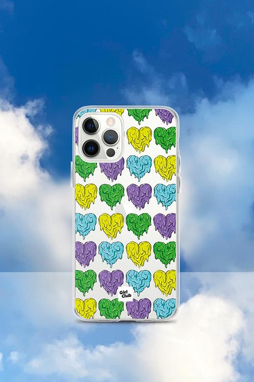 A WHOLE LOTTA HEARTS Green/Purple iPhone Case