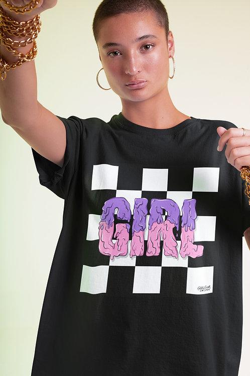 CHECK IT GIRL Black T-Shirt