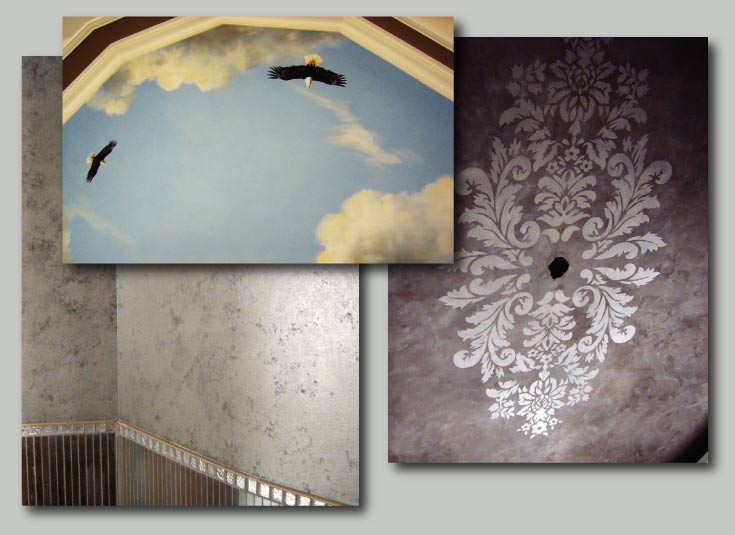 ceilings and a powder room wall