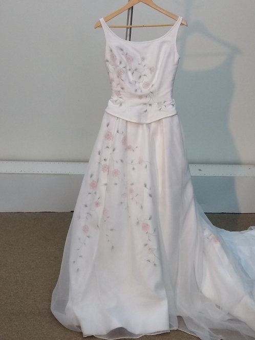 Hand Painted Flower Wedding Dress