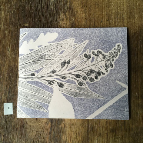 SOLD .... Front of small notebook with hand printed covers (£12) - Rosebay Willowherb and Oak leaf