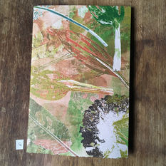 Front of book with hand printed covers (£20) - Holey Hostas & Docks