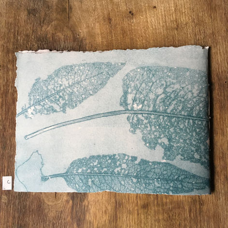Back of blank notebook with hand printed covers (£20) - Holey Docks