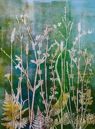 Jewelled Meadow, unique nature monoprint