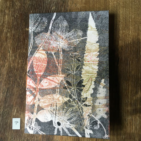 SOLD .... Front of small notebook with hand printed covers (£12) - Clover, Yarrow and Ash leaf