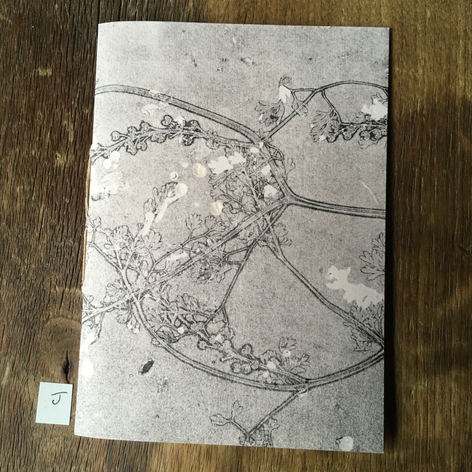 Front of small notebook with hand printed covers (£10)