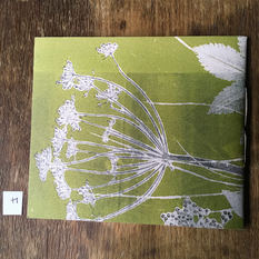 Back of small notebook with hand printed covers (£12) - Ground Elder (I think)