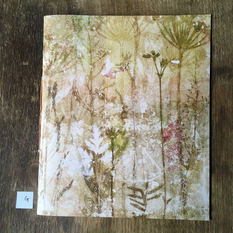 SOLD .... Front of blank notebook with hand printed covers (£20) - Ground Elder, Grasses & Vetch