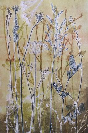 Delicate Meadow, unique nature monoprint