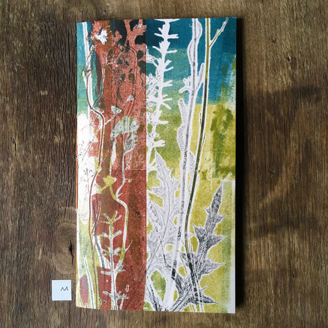 Front of small notebook with hand printed covers (£12)
