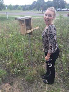 Abby finding an empty nest. Bye bye baby birds!