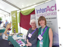 InterAct advisor Joanna Brendon (left) and reader Kelda Holmes (right) manning the stall at the Chiswick Book Festival, chatting with the public and spreading the word about our service!