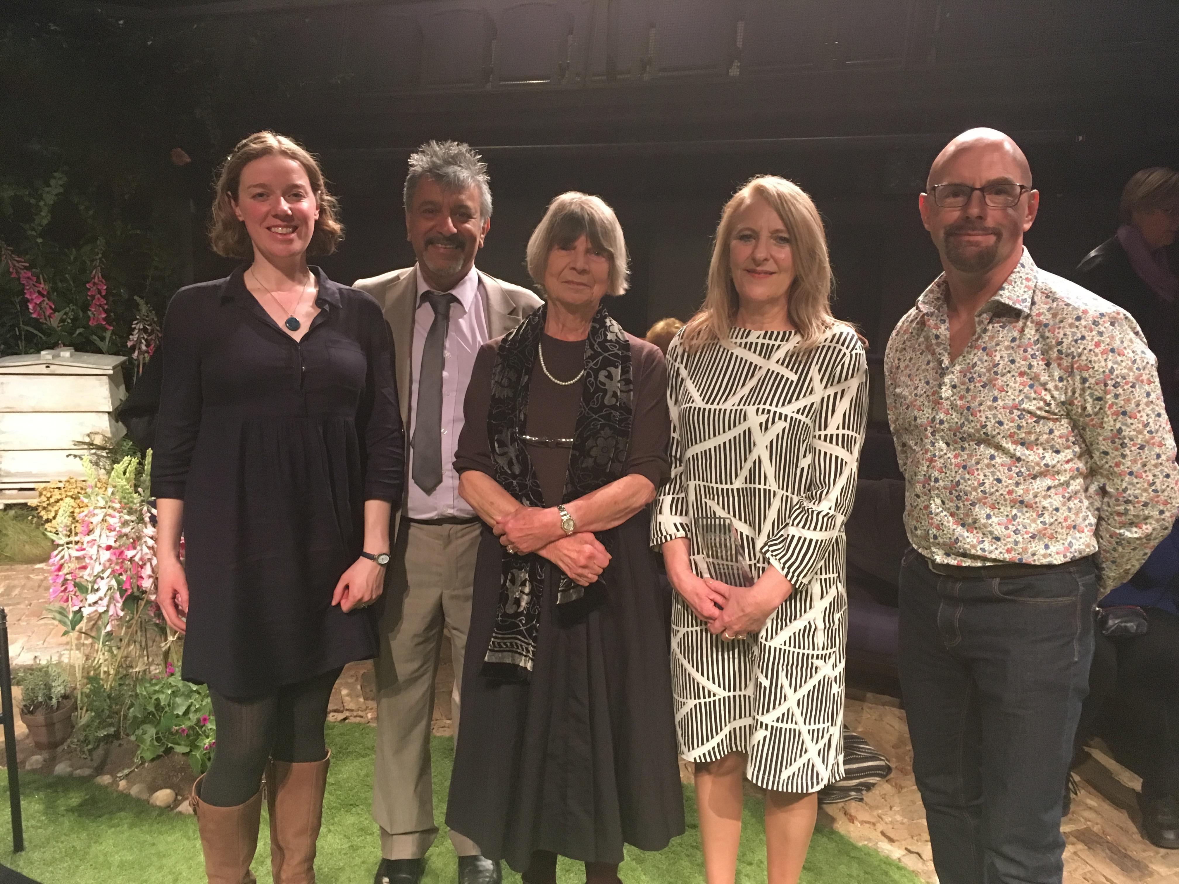 (Left to right: Chloe Banks, Nirjay Mahindru, Dame Margaret Drabble, Shelley Vincent, James Dunford)