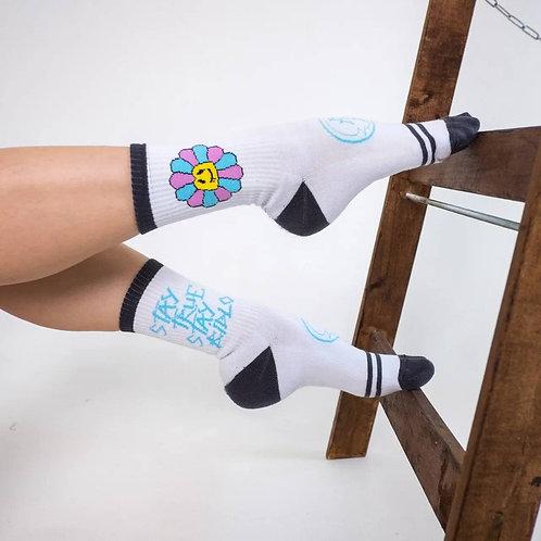 Носки BidloBikes «Цветы Улиц»  белый