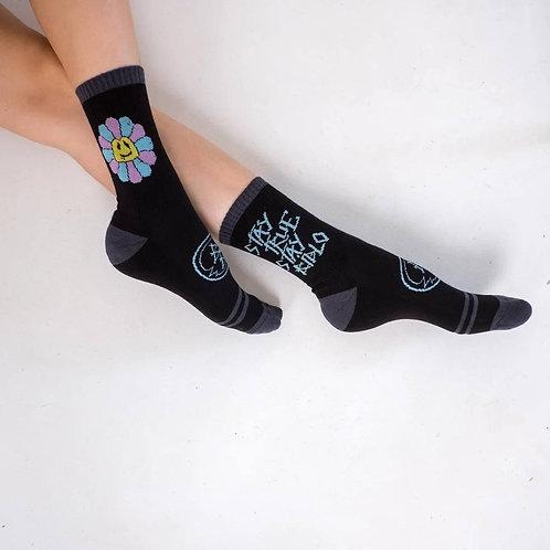 Носки BidloBikes «Цветы Улиц»  чёрный