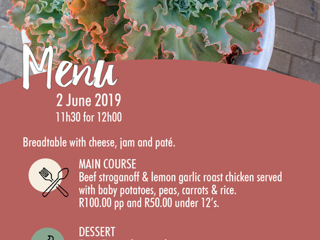 Sunday 2 June 2019 Lunch Menu