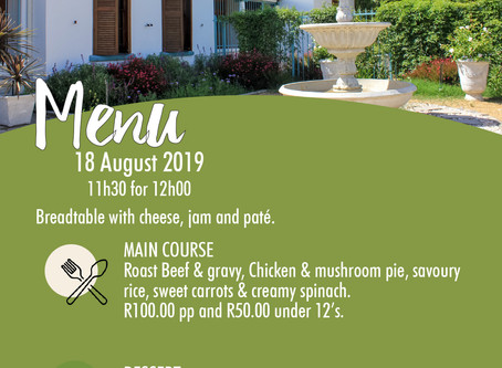 Sunday Lunch Menu - 18 Aug 2019