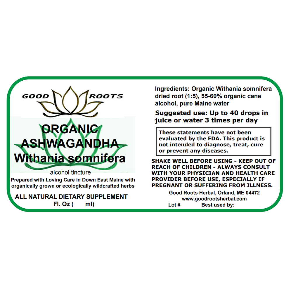 Ashwagandha Dried Root Organic Tincture | goodrootsherbal