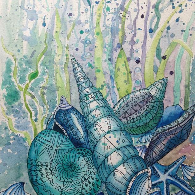 Neptunes's garden 2. Ink and Watercolour