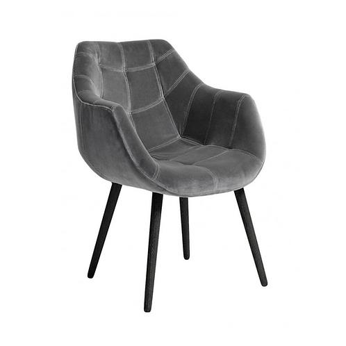 Nordal, Dinner Spisebordsstol m/armlæn - grå/sort