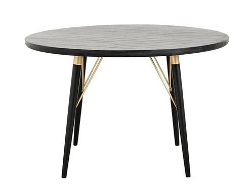 Nordal, Rundt spisebord i træ, sort/mat guld - Ø120