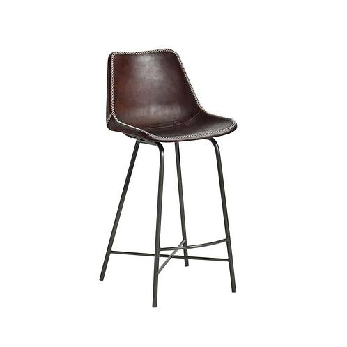 Nordal, Barstol i læder - H99cm - mørkebrun
