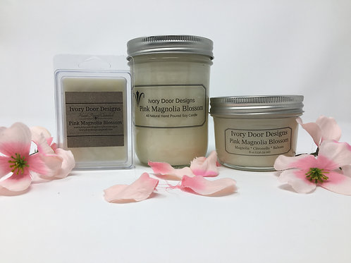 Pink Magnolia Blossom Soy Candle