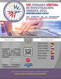 ¡PARTICIPA ! en la VIII Jornada  Virtual de Investigación UNIEDPA 2021
