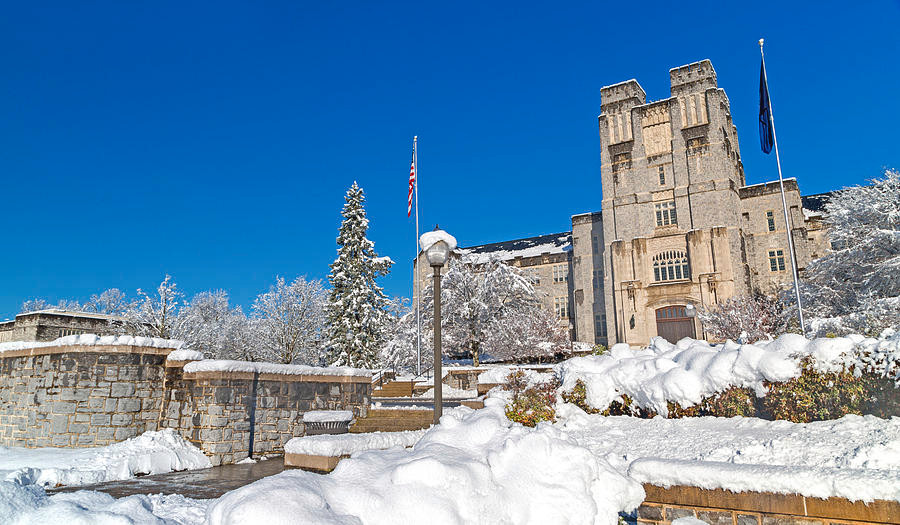 Snow on Burruss Hall