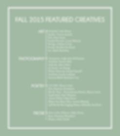 Congrats Fall 2015 Featured Creatives!