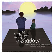Cover of children's book The Life of a Shadow. Father and daughter sit on a dock at sunset.