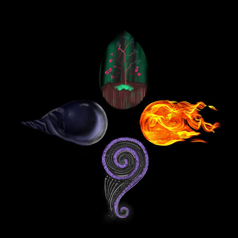 Element Logo - air, water, earth, and fire symbols