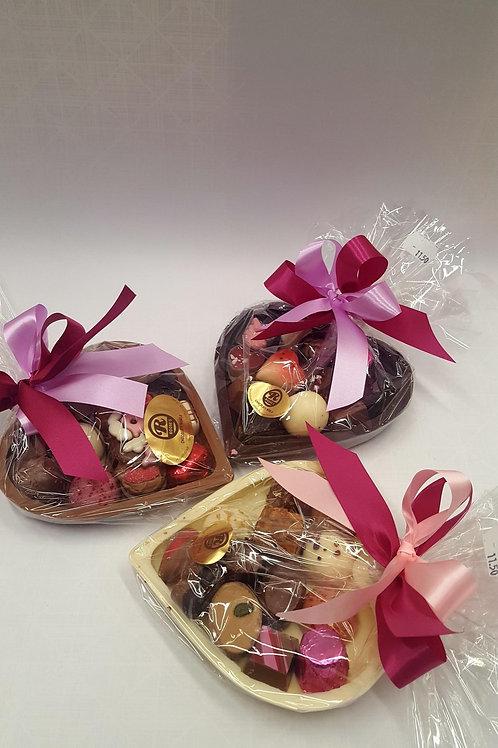Chocolade hart gevuld met pralines