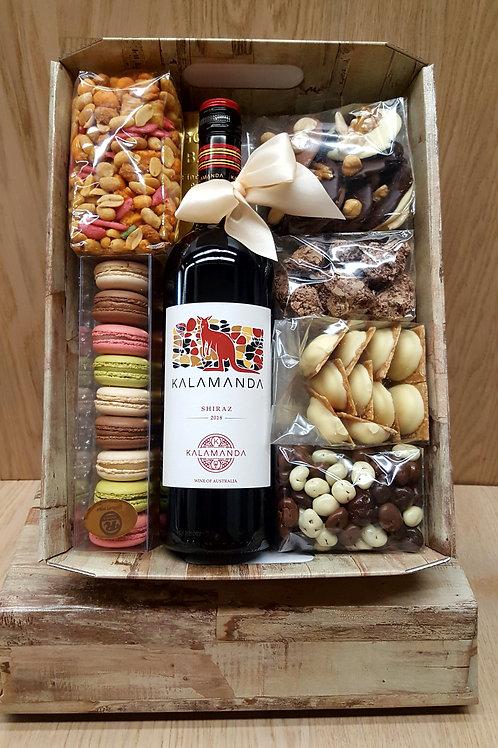 Kartonnen kist rode wijn