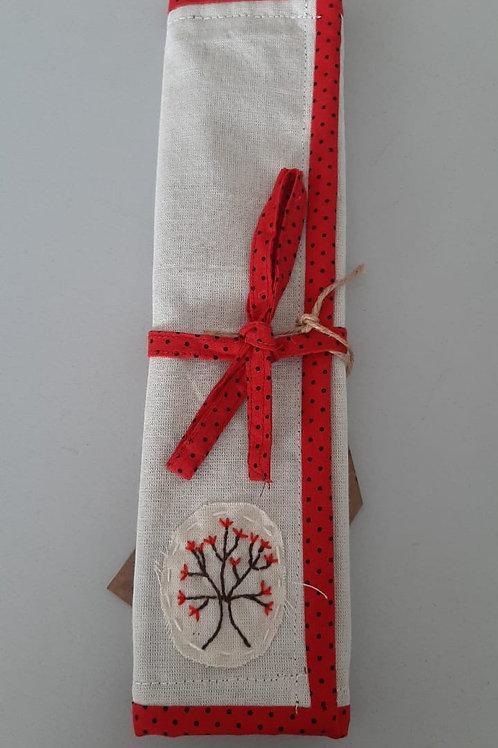 Porta-canudo com canudo de inox e escovinha de limpeza