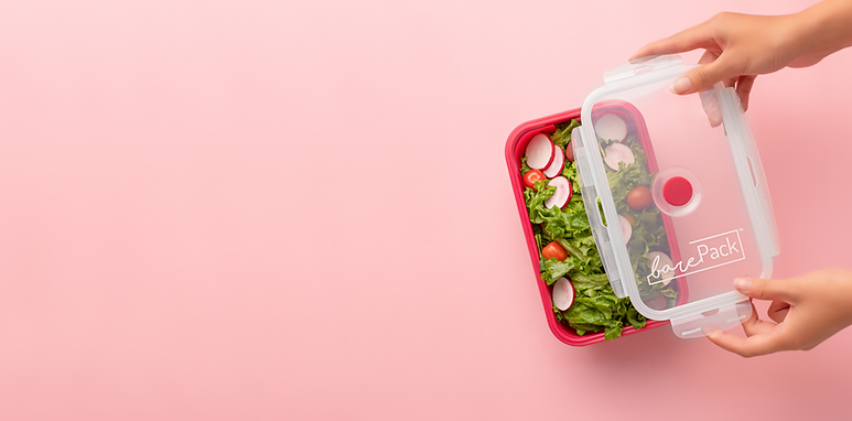 barePack pink background reusable lunchbox silicone FlexBox with Salad healthy meal