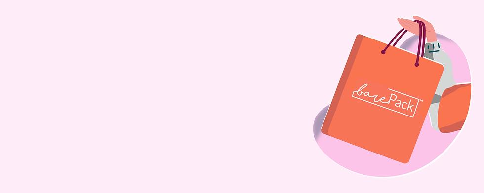 barePack banner for food delivery partners GrabFood Deliveroo and foodpanda Singapore pink background vector design