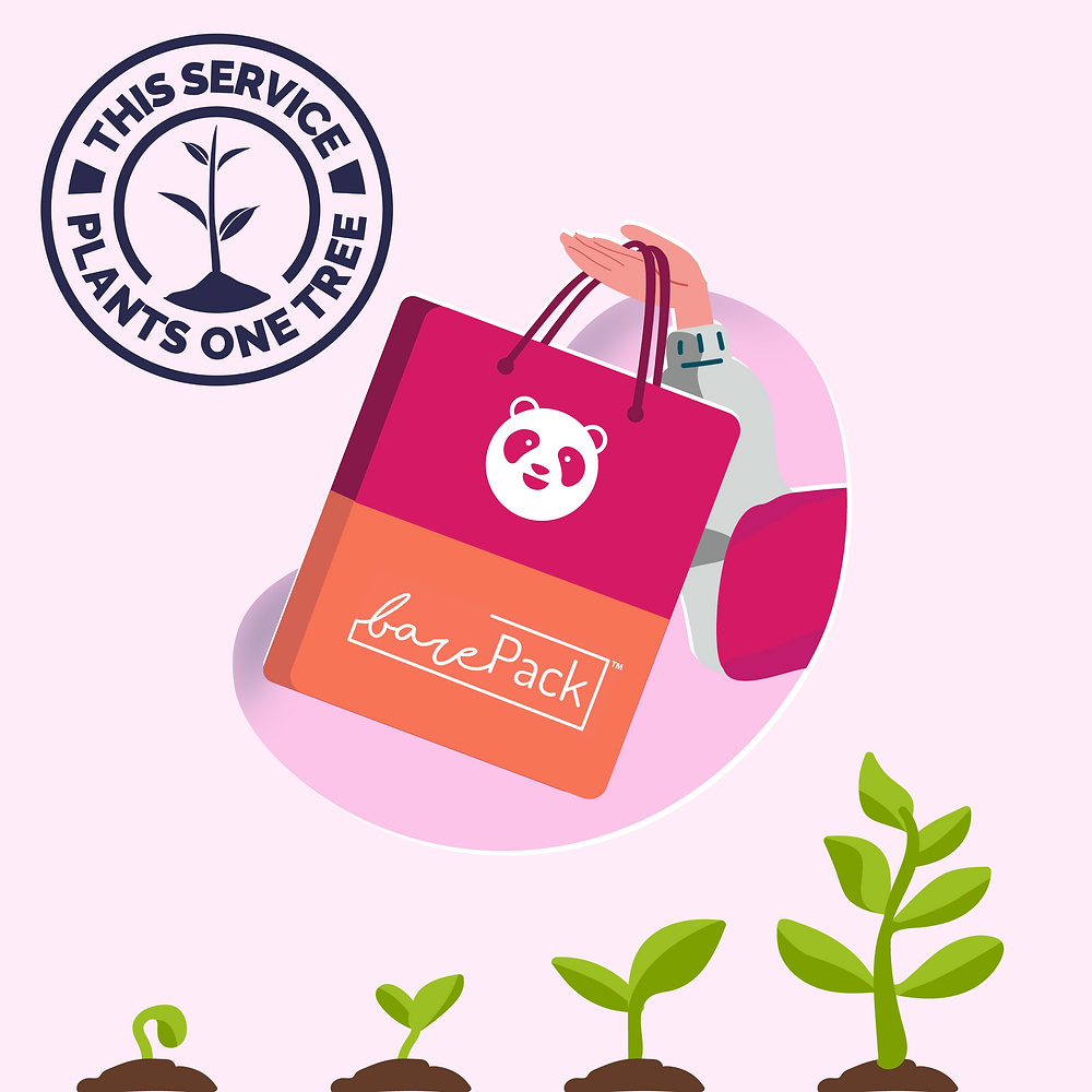 barepack and foodpanda visual with one tree planted to support tree planting on a pink background with a reusable bag and foodpanda barePack logos