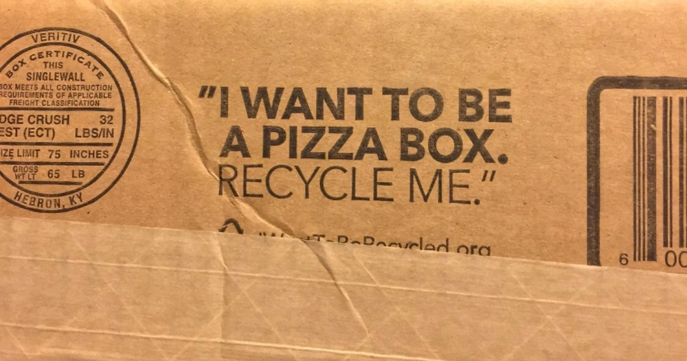 You can't recycle pizza boxes in singapore but you sure can find recycled cardboard pizza boxes - is that the ultimate cardboard box's dream? | Credit: reddit.com
