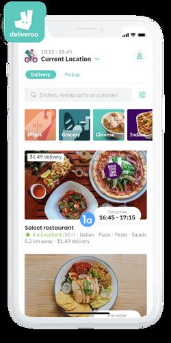 Step1 in Deliveroo: Select a partner restaurant