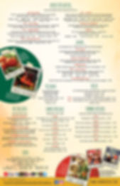 Sombrero's Menu - back