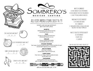 Sombrero's Kids Menu