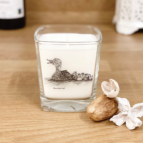 'JUST KEEP SWIMMING' SQUARE CANDLE JAR IN AMBER & FRESH JASMINE