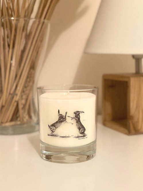 'HARE WE GO AGAIN' ROUND CANDLE JAR IN ANGEL WISHES