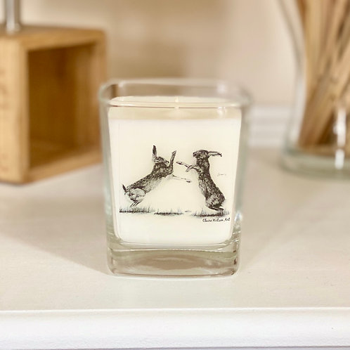 'HARE WE GO AGAIN' SQUARE CANDLE JAR IN SANDALWOOD & ORANGE BLOSSOM